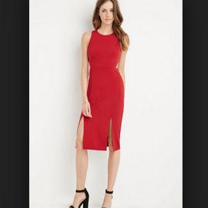 Forever 21 Red Split Midi Dress